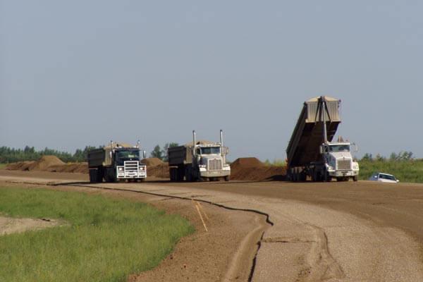 Dump Trucks on the Estevan Bypass